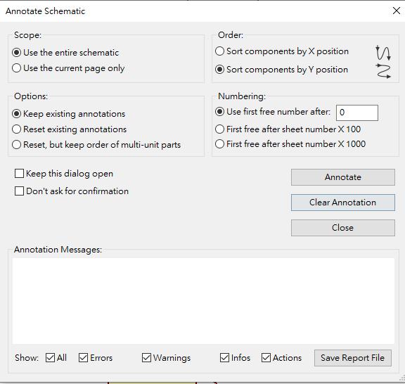 Annotate Schematic Symbols Window Kicad