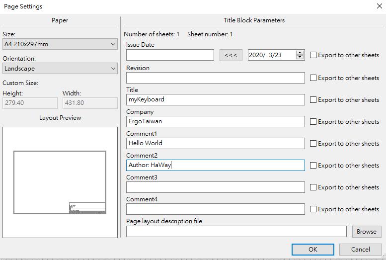 Kicad Page Settings